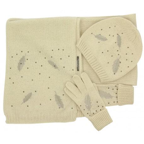 Pack écharpe longue bonnet gants laine brodés beige ISABELLE