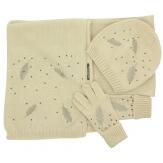 Pack écharpe bonnet gants laine brodés ISABELLE Beige-Écharpe laine femme-CHARLESELIE94