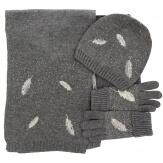 Pack écharpe longue bonnet gants laine brodés gris ISABELLE