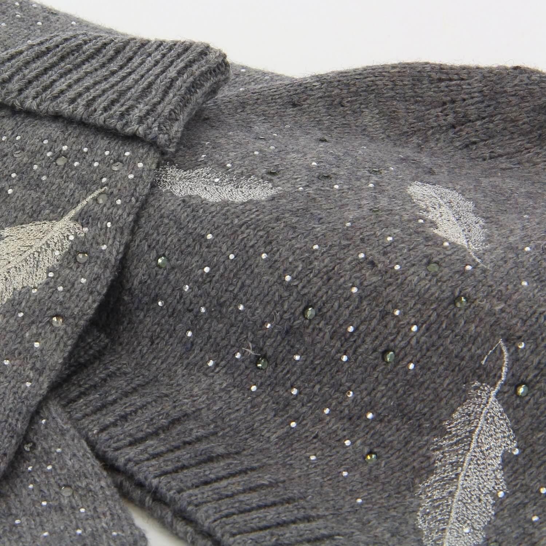 b1e865f8c7a6 Pack écharpe longue bonnet gants laine brodés gris ISABELLE