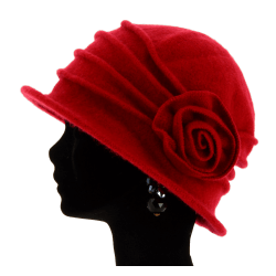 Bonnet chapeau cloche laine CATHERINE Red Chapeau cloche