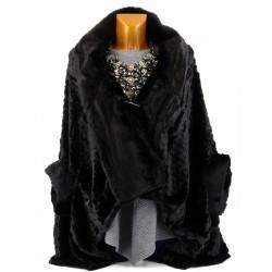 Cape manteau poncho fausse fourrure noir FLORENCE