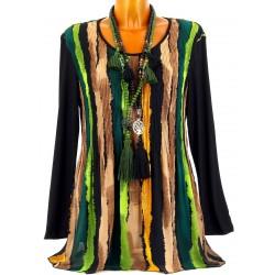 Tunique longue plissée mousseline bohème vert CHRISTIANNE