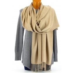 écharpe châle étole cachemire laine hiver mixte beige BERNARD