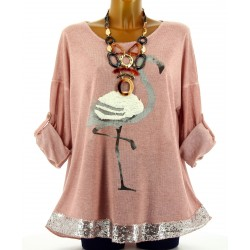 Tunique tee shirt maille hiver grande taille FLAMANT rose