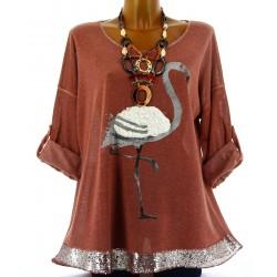 Tunique tee shirt maille hiver grande taille FLAMANT brique