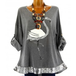 Tunique tee shirt maille hiver grande taille FLAMANT gris
