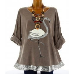 Tunique tee shirt maille hiver grande taille FLAMANT taupe