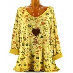 Tunique tee shirt maille hiver grande taille MONIQUE safran
