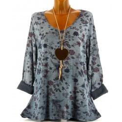 Tunique tee shirt maille hiver grande taille MONIQUE bleu