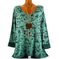 Tunique tee shirt maille hiver grande taille MONIQUE vert