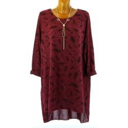 Robe tunique longue collier bohème hiver bordeaux SIBILLE