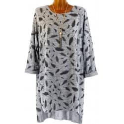 Robe tunique longue collier bohème hiver gris SIBILLE