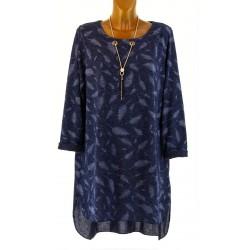 Robe tunique longue collier bohème hiver bleu SIBILLE