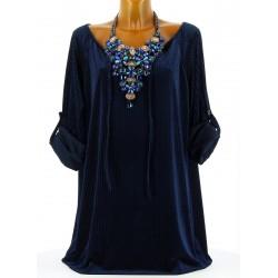 Tunique longue bohème velours hiver bleu FANNY