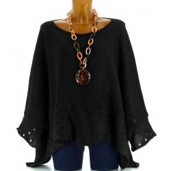 Pull poncho laine mohair bohème grande taille noir ALEXANDRA