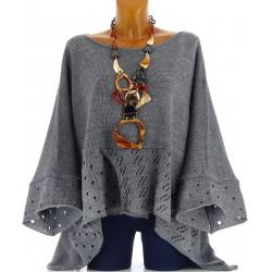 Pull poncho laine mohair bohème grande taille gris ALEXANDRA