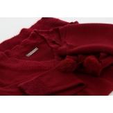 Pull long + écharpe longue pompons hiver bohème bordeaux CYPRIEN