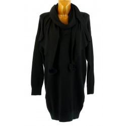 Pull long + écharpe longue pompons hiver bohème noir CYPRIEN