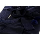 Pull long + écharpe longue pompons hiver bohème bleu CYPRIEN
