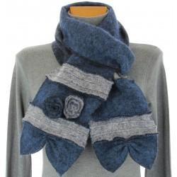 écharpe longue laine bouillie fleurs bleu gris ALBERT