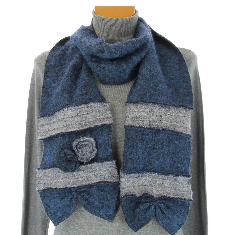 5016d34cb9bd écharpe longue laine bouillie fleurs bleu gris ALBERT