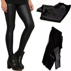 Pantalon legging  tregging cuir taille haute grande taille noir MAITE
