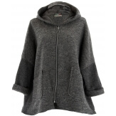Manteau court capuche hiver laine bouillie gris LORENA