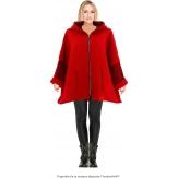 Manteau court capuche hiver laine bouillie rouge LORENA