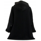 Manteau court capuche hiver laine bouillie noir LORENA