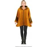 Manteau court capuche hiver laine bouillie safran LORENA