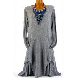 Robe pull longue bohème asymétrique hiver gris CARMEN