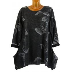 Tunique longue bohème asymétrique hiver grande taille noir MIREILLE