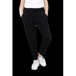 Pantalon fluide chino grande taille lycra noir SOPHIE