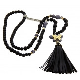sautoir long collier bohème perles bois noir gris pompon BUTTERFLY