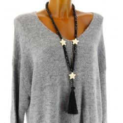 sautoir long collier bohème perles verre pompon étoiles noir STAR