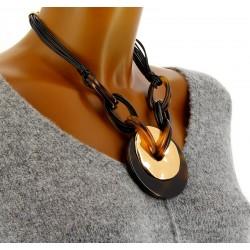Gros collier couture résine ethnique ras de cou MADDY