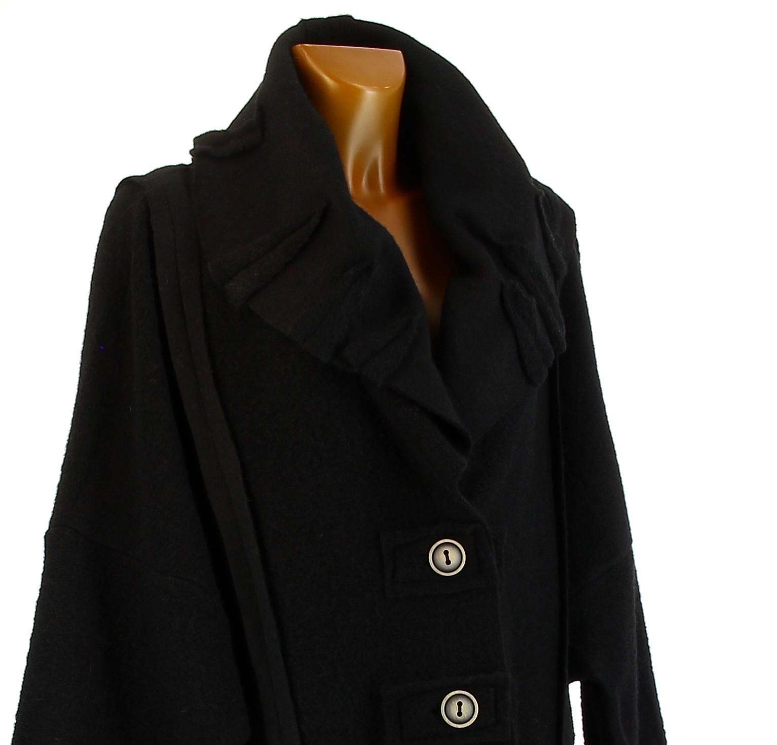 ce0d6e771ff manteau femme laine bouillie noir