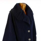 Manteau long hiver laine bouillie grande taille femme bleu KARLA