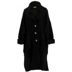 Manteau long hiver laine bouillie grande taille femme noir KARLA