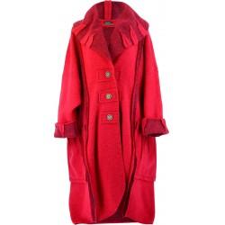 Manteau long hiver laine bouillie grande taille femme fushia KARLA