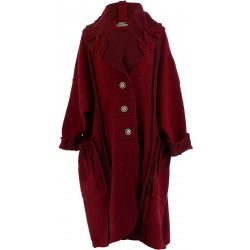 Manteau long hiver laine bouillie grande taille femme bordeaux KARLA