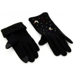 Gants femme hiver tactiles polaire noir ELOISE