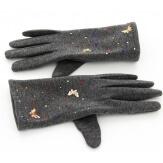 Gants femme hiver tactiles polaire noir GRIS