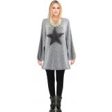 Pull long épais laine mohair étoile bohème gris CASSANDRA