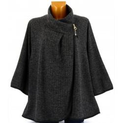 Gilet veste cape ample grande taille noir CAMILLA