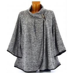 Gilet veste cape ample grande taille gris CAMILLA