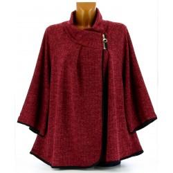 Gilet veste cape ample grande taille bordeaux CAMILLA