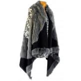 Gilet long cape sans manches laine fausse fourrure gris JUDITH