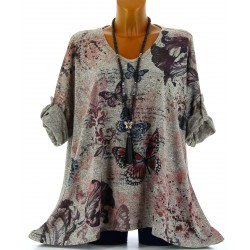 Tunique tee shirt hiver papillons grande taille taupe CHARLENE